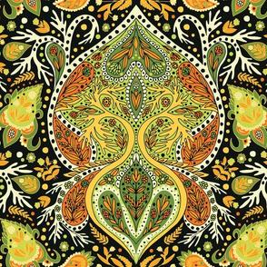 Retro Green, Yellow & Orange Paisley Pattern