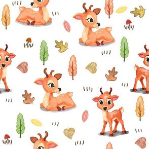 Forest Deer Pattern White