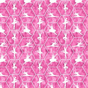 Mini Scale Ballerina Dancers in Ballet Poses on Hot Pink Hexagon Tiles