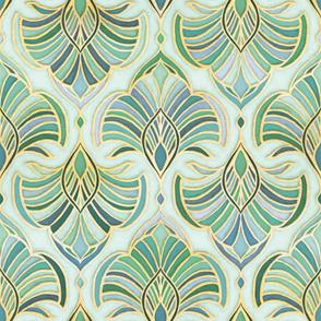 Jade Enamel Art Deco Fans