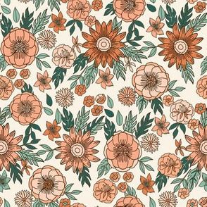 seventies retro floral - trippy, hippie floral fabric - peach