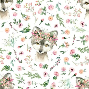 pink floral baby wolf