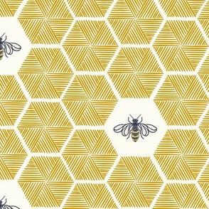 Stitched Bees & Honeycomb - Gold - Medium