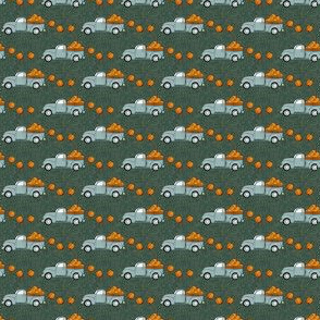 (micro scale) fall vintage truck - falling pumpkins - dusty blue on green - C20BS