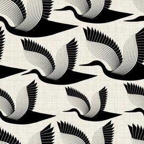 Storks on linen