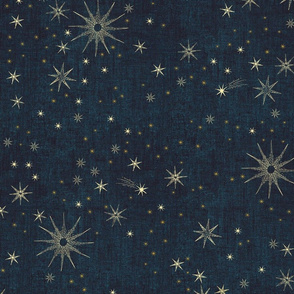 large gold stars in night sky on midnight blue, dark blue, jumbo, cosmos, hand-drawn, space, astrological, home decor