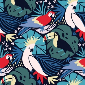 Colorful tropical birds