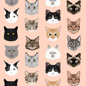 SMALL cat faces cute cats fabric sweet cats blush girls kittens siamese cat lady fabric