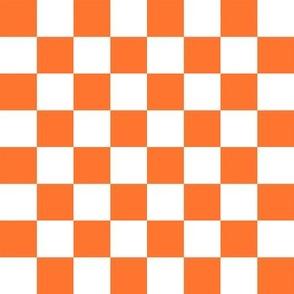 """1"""" checkerboard fabric - skate surf 90s retro design - orange"""