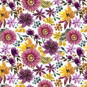fall mustard and purple floral
