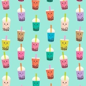 SMALL - Boba Tea fabric - boba fabric, kawaii fabric, cute fabric, food fabric, bubble tea fabric, bubble tea, kawaii food - mint
