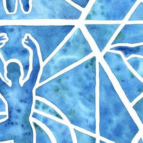 Large Scale Blue Watercolor Ballet Yoga Mosaic Tiles