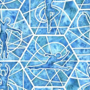 Medium Scale Blue Dancer Mosaic Watercolor