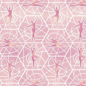 Small Scale Pink and Gold Dancers on Pale Pink Mosaic