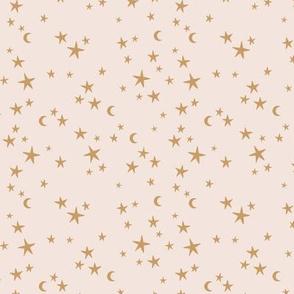 Stars & Moon starry night universe sweet boho galaxy nursery beige caramel brown