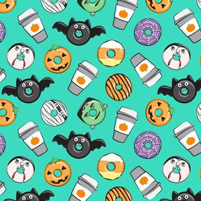 (small scale) Halloween coffee and donuts - teal  - bats, pumpkins, spider web, vampire - C20BS