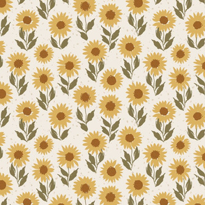medium // Vintage Vibe Sunflowers in Golden Yellow and Green