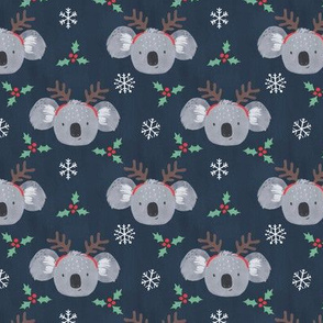 Cute Koalas with Reindeer Antlers on Blue - extra small scale