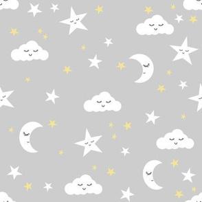 moon and stars fabric sweet baby nursery fabric - grey