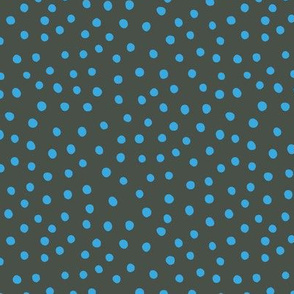 Little spots and speckles new panther animal skin abstract minimal dots in blue forest green winter night SMALL