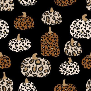 leopard pumpkins  - thanksgiving fall fabric  - black and tan