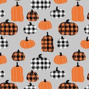 plaid pumpkins - thanksgiving fall fabric - grey