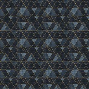 Mod Triangles Gold Indigo M
