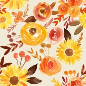 autumn floral on dull cream