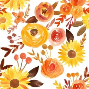 autumn florals on white - large