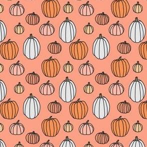 Hand Drawn Pumpkins on black - mini