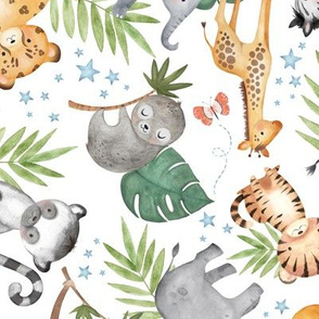Jungle Friends (white) - Kids Safari Animal Nursery Bedding, Lion Elephant Giraffe Zebra Rhino Cheetah, LARGER scale