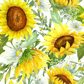 Sunflowers and Daisies Watercolor - extra large scale