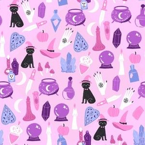 SMALL pastel witch fabric - cute pastel halloween design - lilac