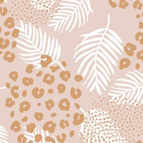 Palm leaves and animal panther spots leopard summer boho summer beige sand ochre yellow