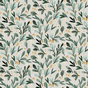 Winter Berry Sprigs gold on gray - M