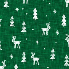 Christmas Reindeer - green - winter forest - moose - LAD20