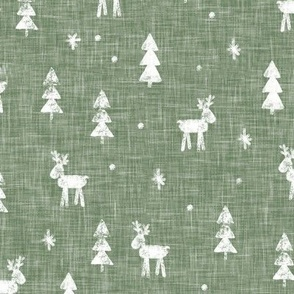 Christmas Reindeer - sage - winter forest - moose - LAD20