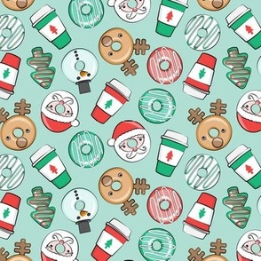 (small scale) Christmas Donuts and Coffee - santa, snowman, reindeer, green and red doughnuts - mint - LAD20