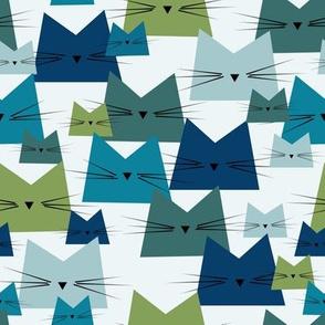 cats - nala cat ocean - geometric cats - cats fabric