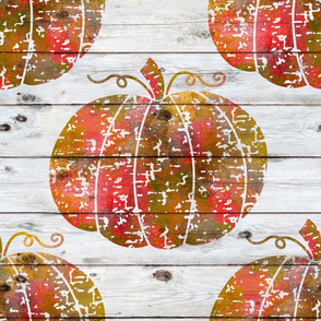 Painted Distressed Pumpkin on white wood - extra large scale