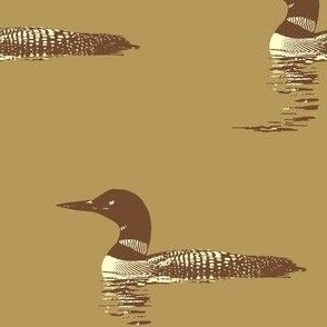 Loon silhouette - brown and cream on tan