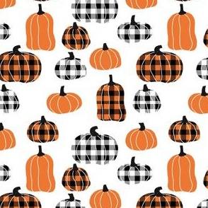 SMALL - plaid pumpkins - thanksgiving fall fabric - white