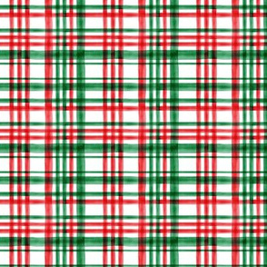 (small scale) Christmas watercolor plaid (bright) C20BS