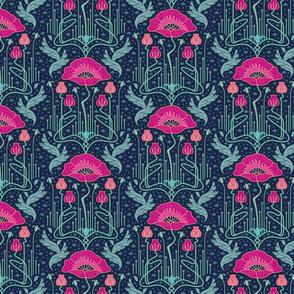 small size - art nouveau poppy variation 1