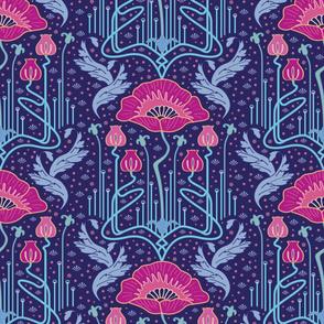 art nouveau poppy variation 3