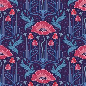 art nouveau poppy variation 4