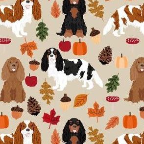 cavalier spaniel autumn fabric - dog fall fabric - tan