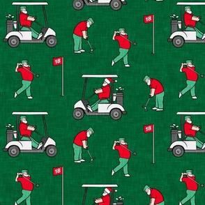 Golfing Santa - golf themed Santa Claus Christmas - green - LAD20