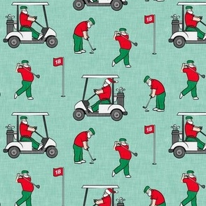 Golfing Santa - golf themed Santa Claus Christmas - mint - LAD20