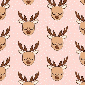 Cute Reindeer - Christmas Holiday fabric - pink with polka dots - LAD20